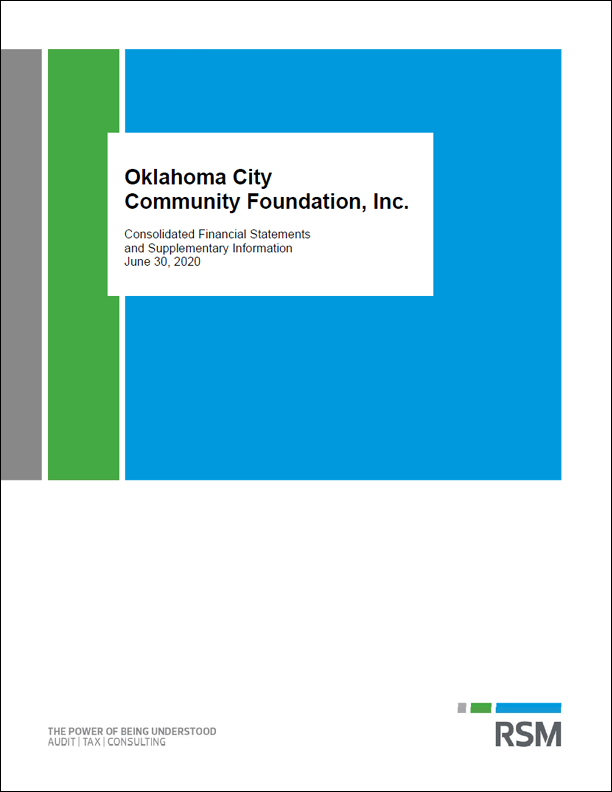 Oklahoma CIty Community Foundation audit cover - it';s white with gray, green and blue rectangles and black text